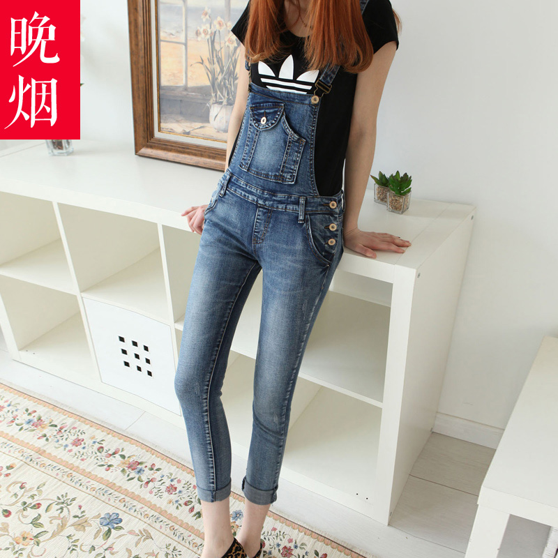 Smoke late 2016 new stretch denim overalls female trousers slim was thin college may love mm summer piece pants