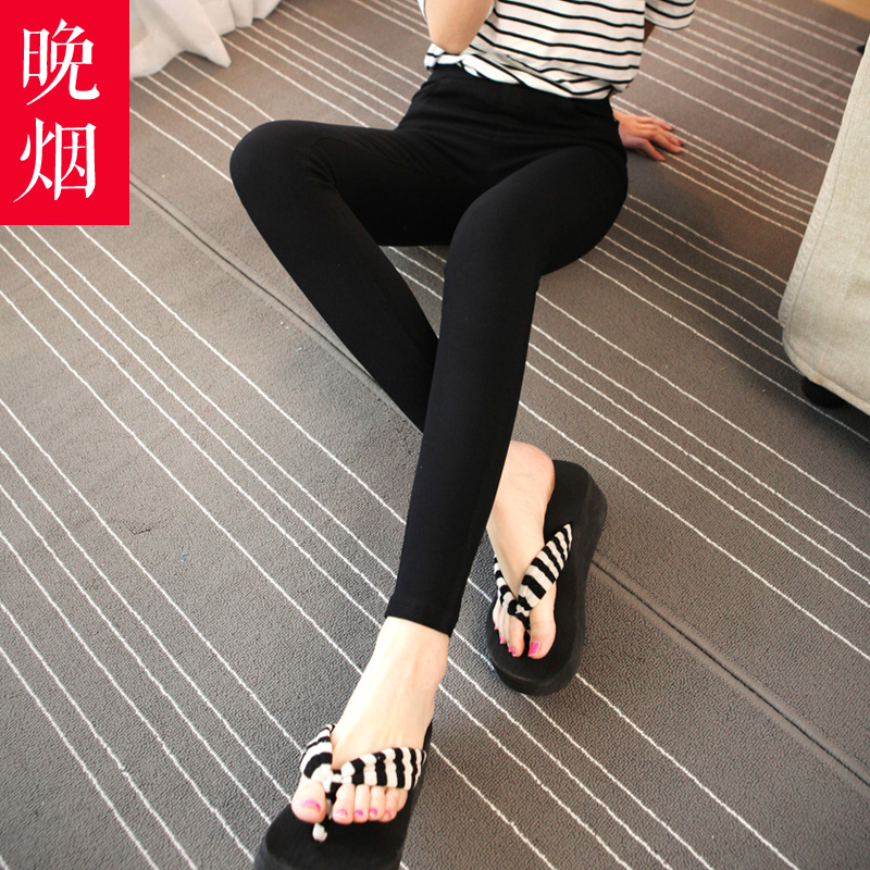 Smoke late 2016 spring and summer new black jeans female feet nine points jeans slim was thin pencil pants