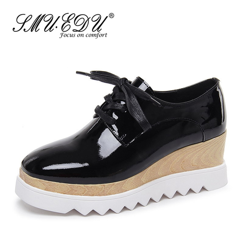 SMUEDU2016 summer breathable shoes to help low wedge heel platform shoes deep mouth singles shoes casual shoes patent leather shoes tide 7678