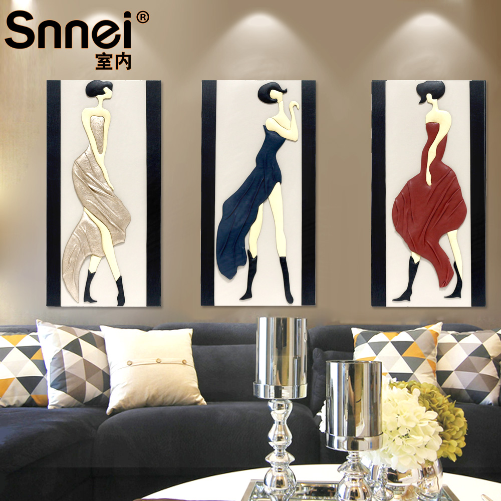 Snnei dimensional relief painting decorative painting living room bedroom frameless painting decorative painting triptych paintings entrance beautiful figure