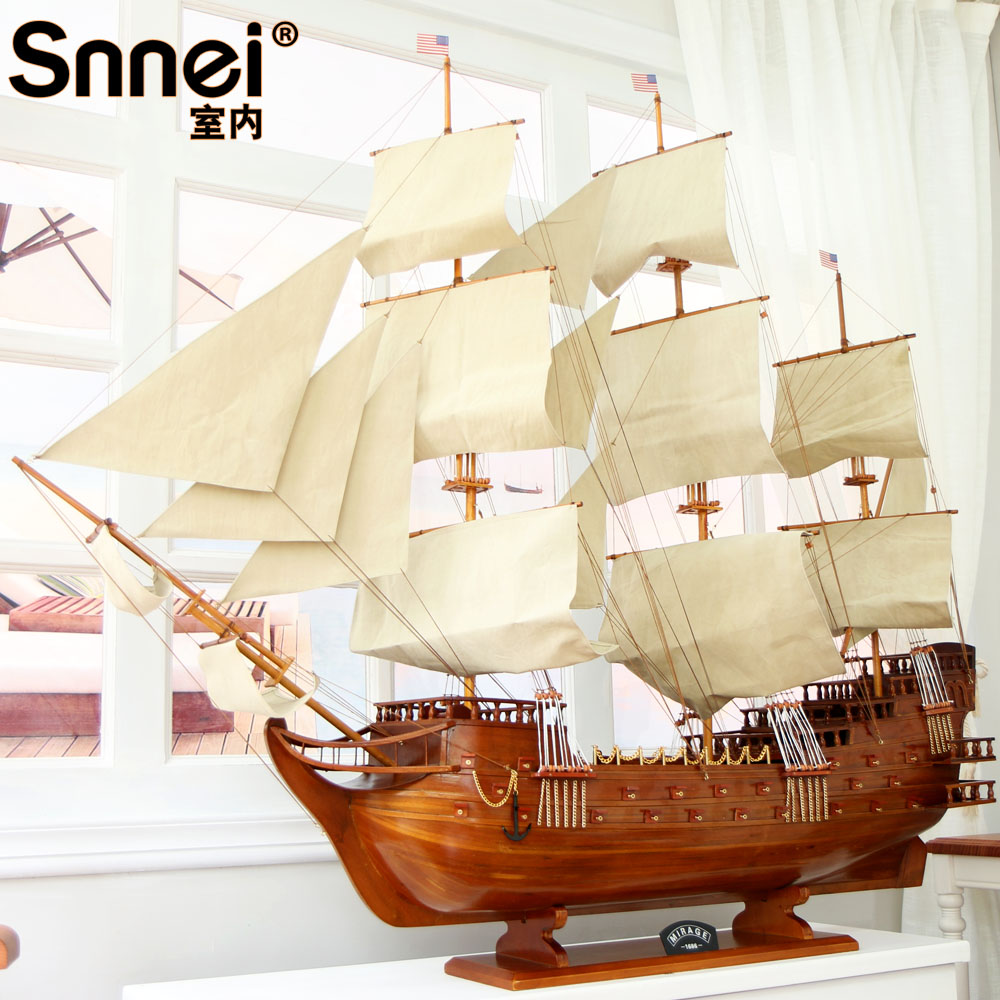 Snnei large sailboat model assembly wood crafts ornaments smooth sailing ship large 1.5 m