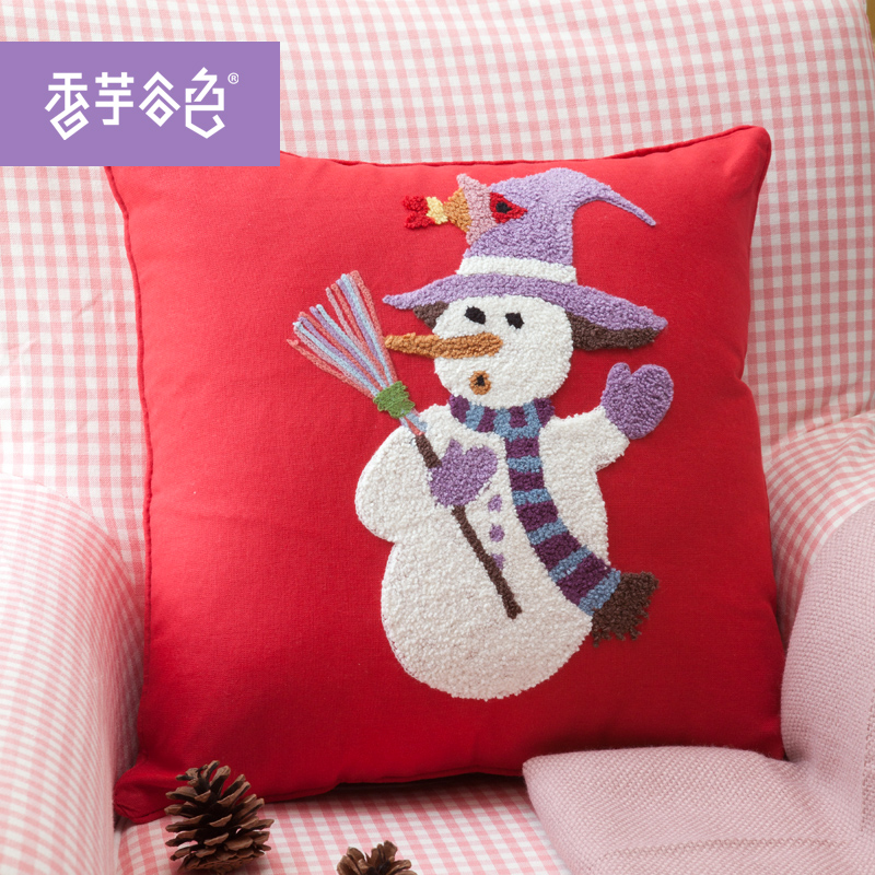 Snow valley taro color fabric cushion sofa bed pillow without the core original cartoon cotton pillow cover