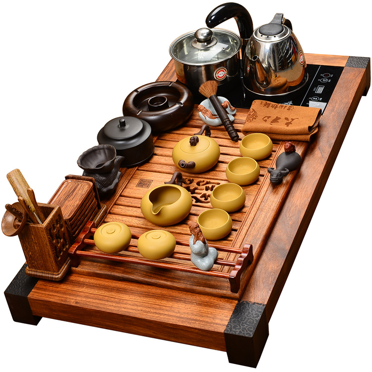 Snow was in the beginning days of the original solid wood rosewood ebony wood kung fu tea tray tea set four purple mountain water