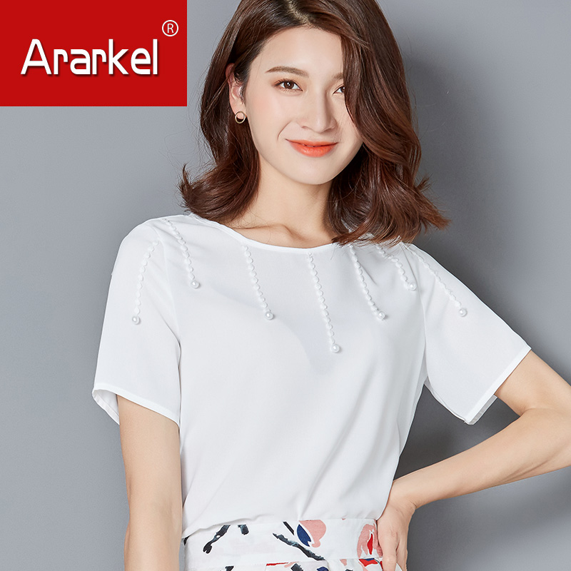 d31920818fe Get Quotations · Solid color chiffon shirt short sleeve t-shirt female  summer new round neck beaded blouse