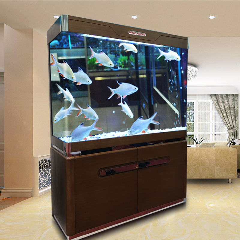 Solid wood at the end ofè±å¯¸borderless filtrating medium-sized fish tank aquarium goldfish minjiang 1.2 m 1 large office 1.5 m off Cylinder
