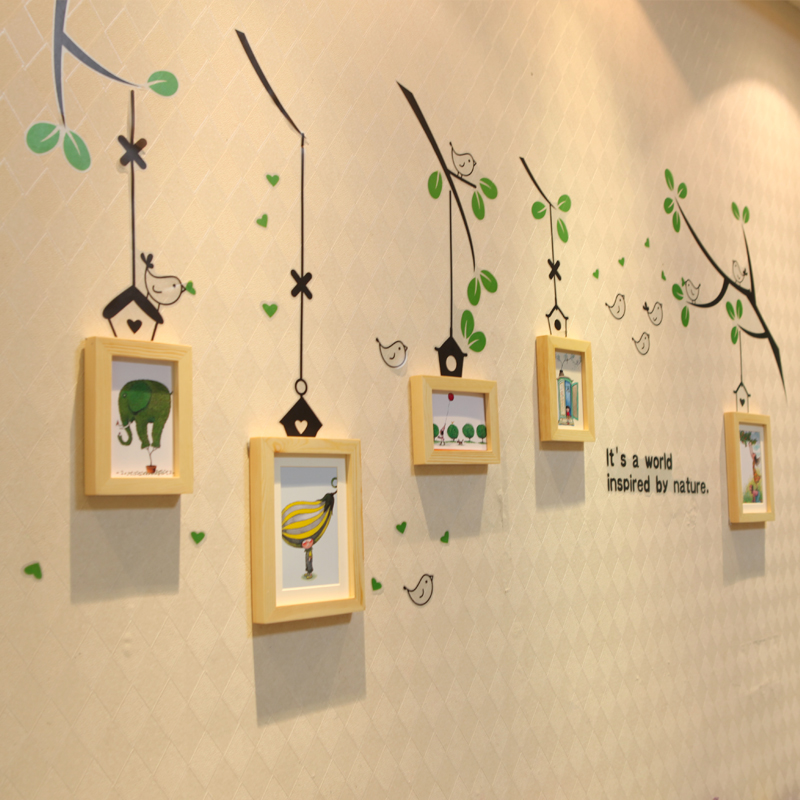 Solid wood photo wall creative green birds wall sticker wall photo frame combination ikea wall creative photo frames free shipping