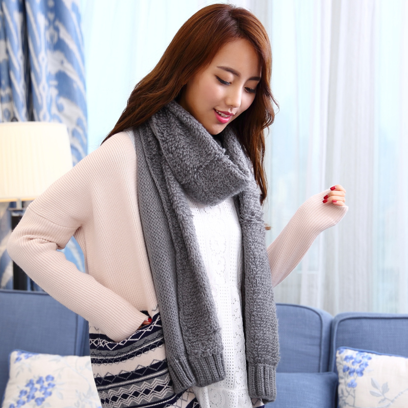 Song xinier sided wool scarf autumn and winter scarves korean female thick winter korean version of the influx of men paul warm scarf