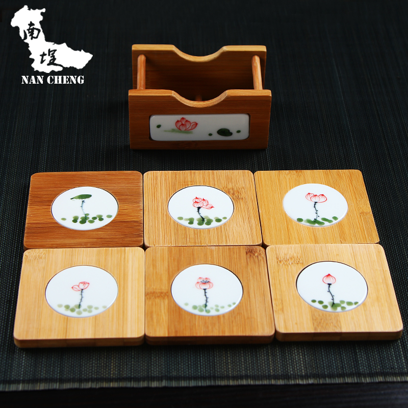 South courtyard ceramic coasters creative handmade fish lotus flowers painted bamboo inlaid ceramic coasters