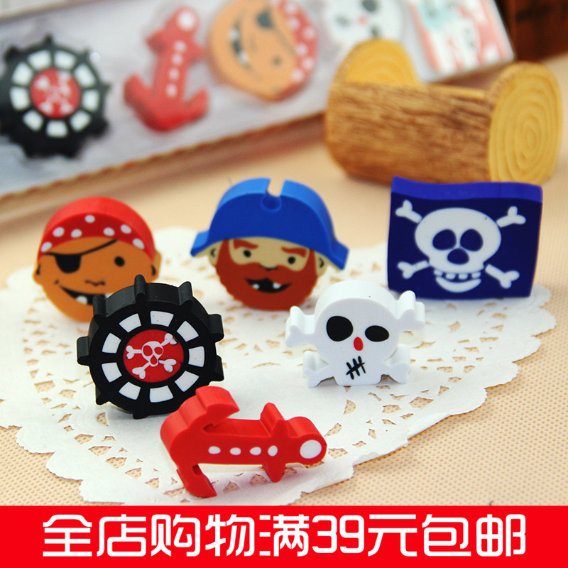 South korea creative stationery cute eraser boxed pirate suit cartoon stationery student prizes 6 2块loaded