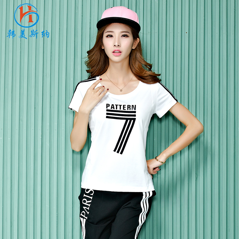 South korea gomez carolina leisure suit female 2016 summer new korean loose round neck short sleeve female sports suit trousers