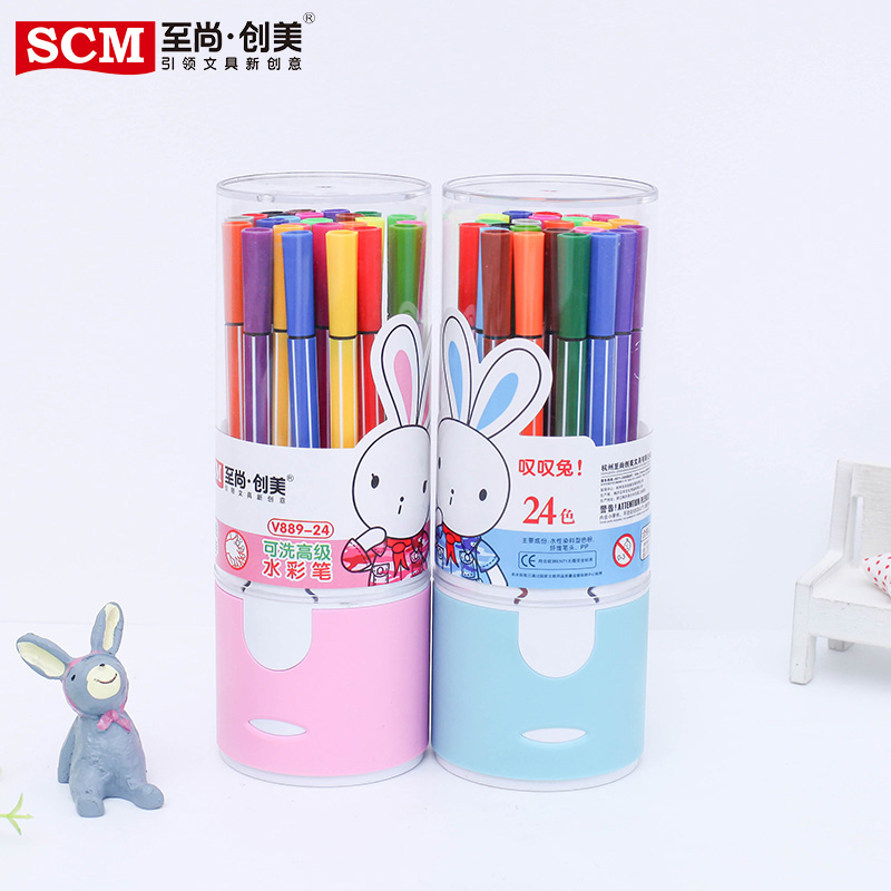 South korea infant child student painting watercolor pen water toxic environmentally friendly washable watercolor pen 24 color coarse head/ Barrel