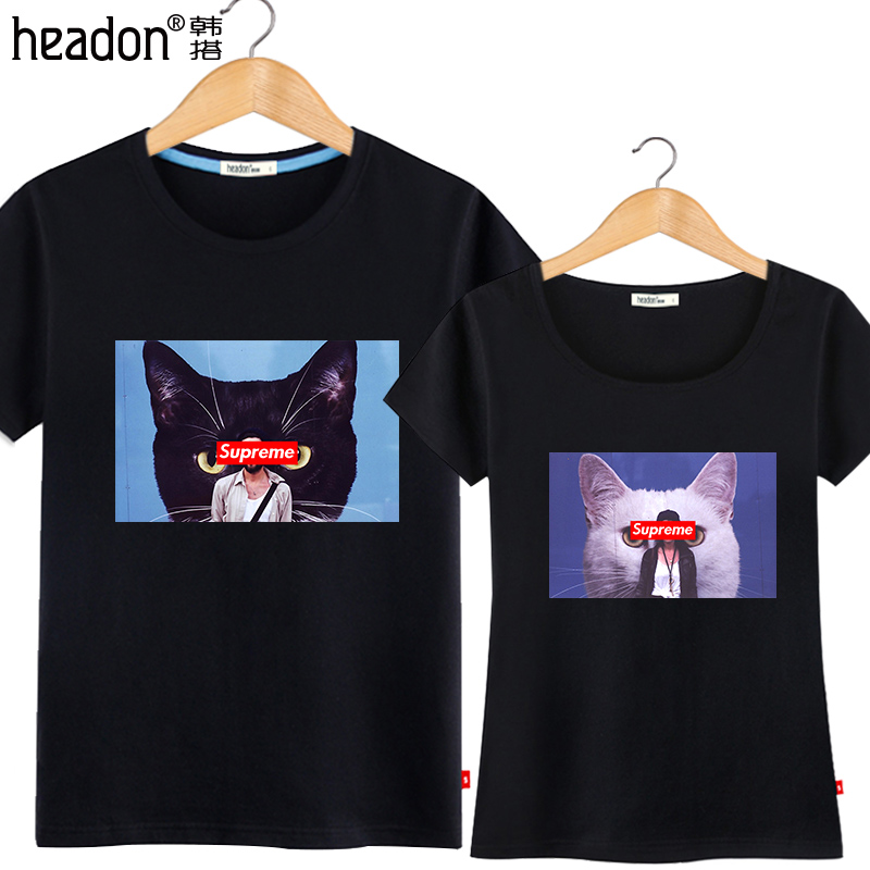 South korea take 2016 spring and summer new female harajuku lovers korean tide brand in europe and america cat pure cotton men's short sleeve t-shirt