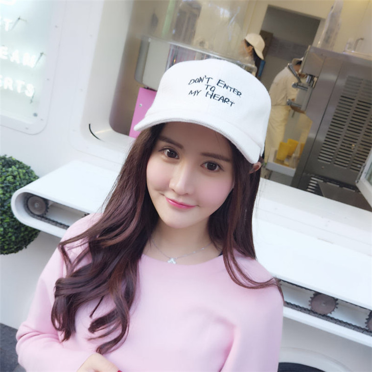 South korean alphabet autumn and winter wool baseball cap black cap hip-hop hat cap visor korean version of the influx of men and women fall and winter days