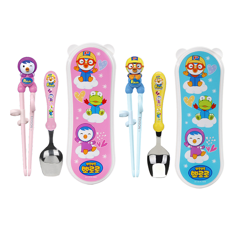 South korean imports of edison edison pororo boo lele new learning chopsticks spoon box set loaded new starting