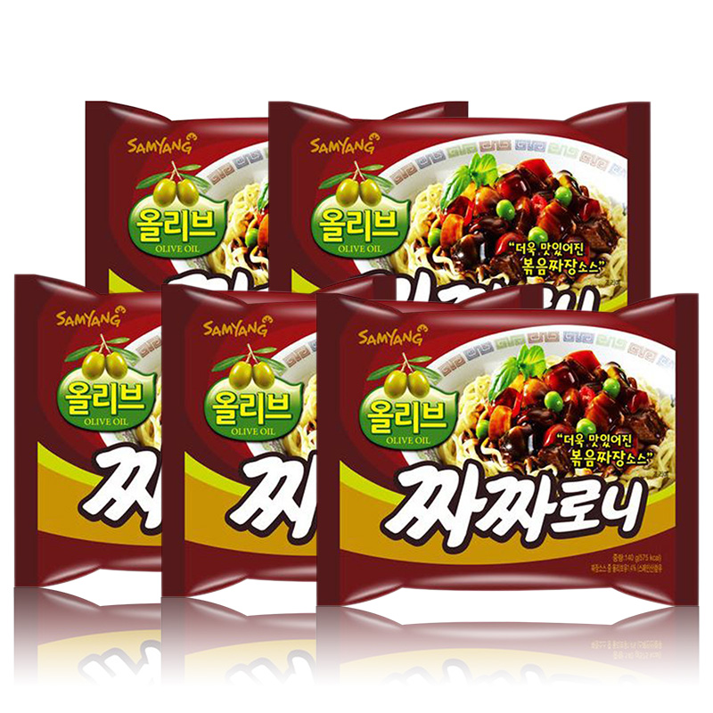 South korean imports of instant noodles samyang ramen noodles dry noodles mixed sauce noodles ramen noodles 140g * 5 even pack