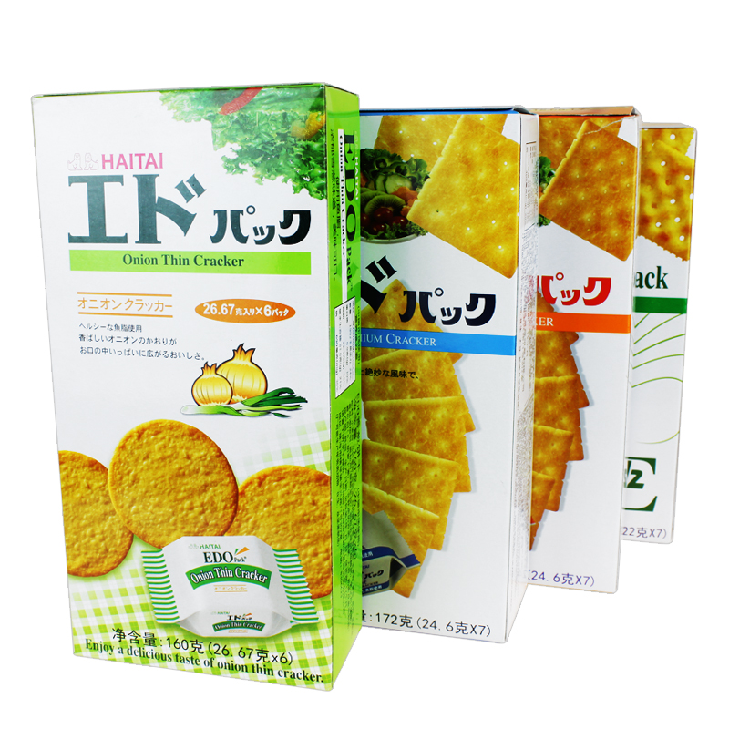 South korean imports of plain soda crackers edo pack/soda/cheese/onion flavor zero food