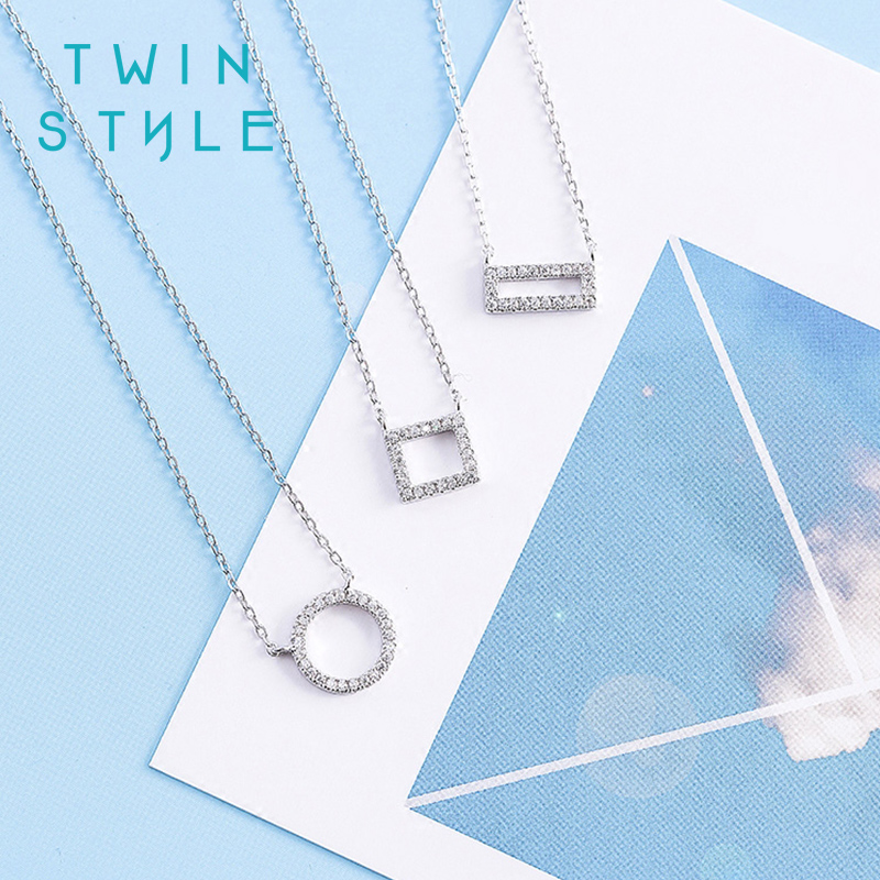 South korean twinstyle hipsters geometric cz 925 silver necklace female clavicle chain fashion simple wild jewelry