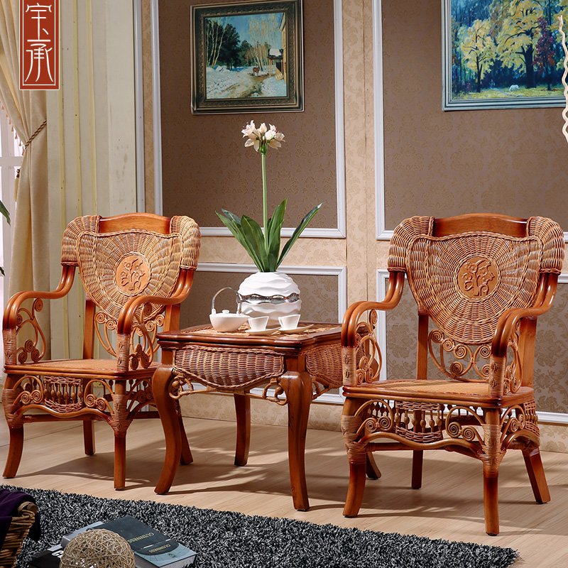 Southeast asia indonesia imported rattan armchair balcony chair rattan wicker chair lounge chair coffee table three sets of 3 sets of combination