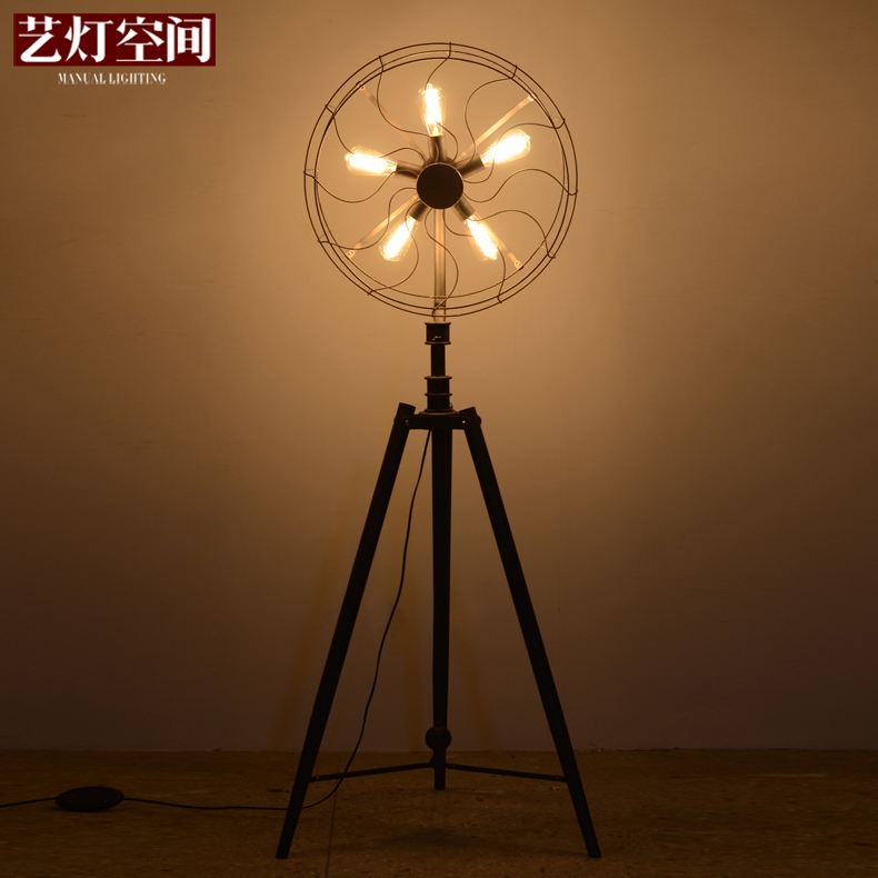 [Space] arts lamp american country retro industrial fanner floor lamp floor lamp creative personality living room bedroom decoration