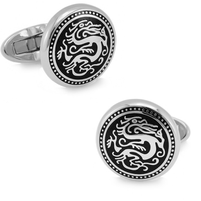 Sparta arrogance silver dragon pattern exquisite enamel rhodium cufflinks french shirt cufflinks for men cufflinks cuff