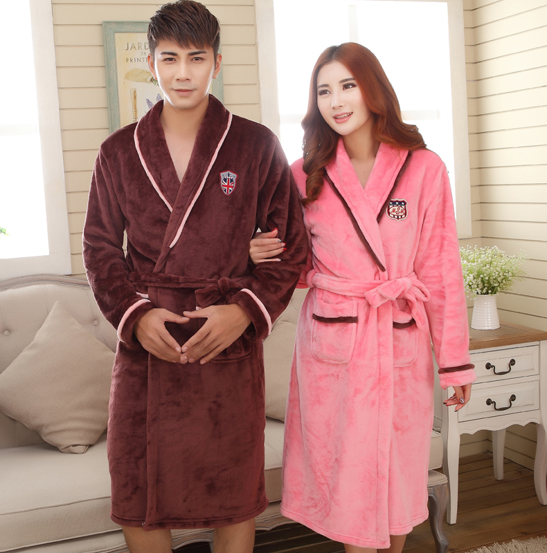 Special autumn and winter flannel nightgown male couple ms. thick coral fleece bathrobe nightgown big yards tracksuit