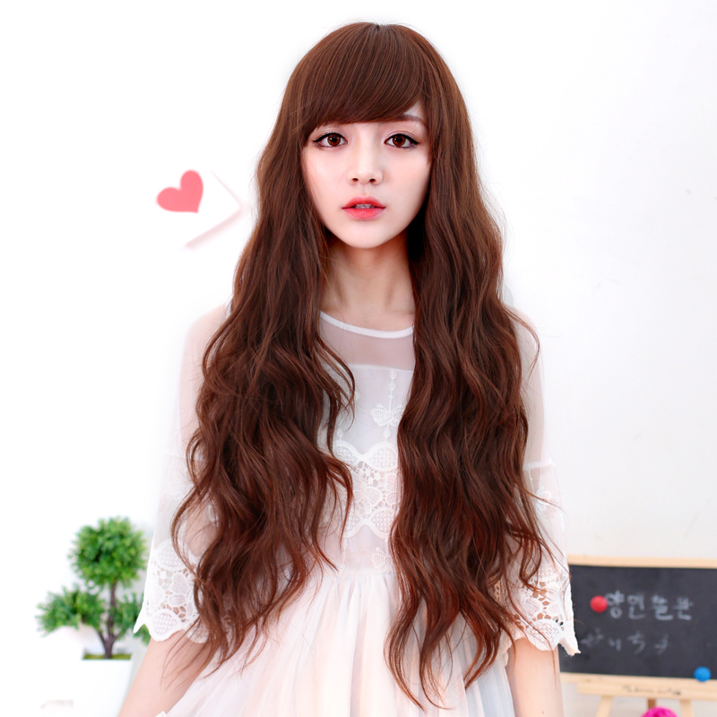 [Special] bai america square wig scroll fluffy female fashion oblique bangs wig long curly hair big wave