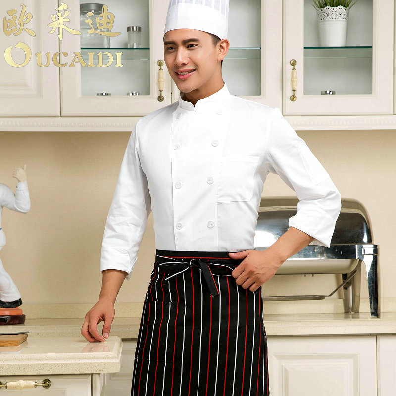 Special chef service sleeved overalls hotel restaurant kitchen restaurant waiter overalls summer tooling uniform