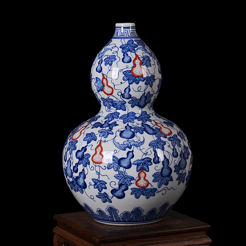 Special jingdezhen ceramic vase painted antique blue and white lotus scroll gourd vase home decoration crafts workers