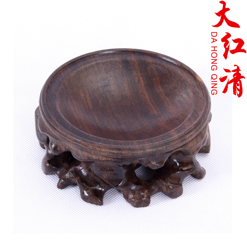 Special mahogany wood pedestal base stone carvings chapter jade ornaments crafts small ornaments carved wooden pallet base