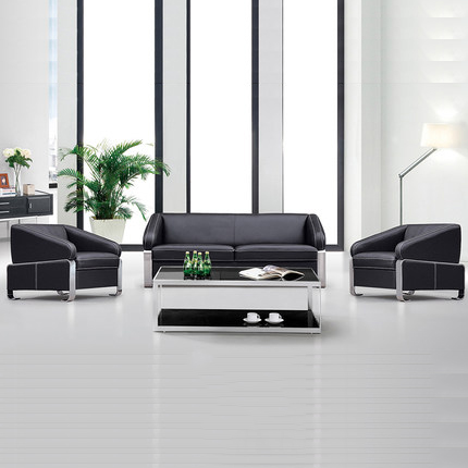 Special stainless steel office modern minimalist living room combination leather sofa minimalist art parlor reception lounge sofa