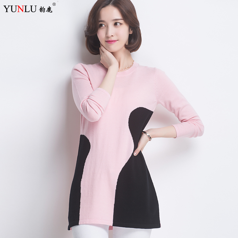 Spell color long section round neck sweater dress sweater female hedging 100% pure wool sweater bottoming shirt korean version of outer wear Influx of men