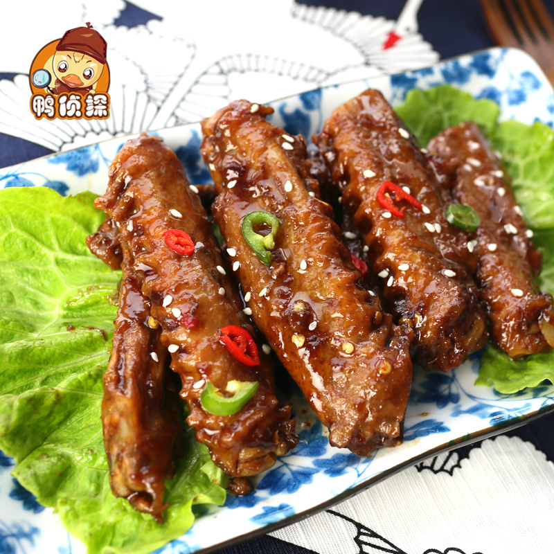 Spiced spicy duck wings duck lock installed fresh g lnspector meat lo casual snack specialty 2016 of new