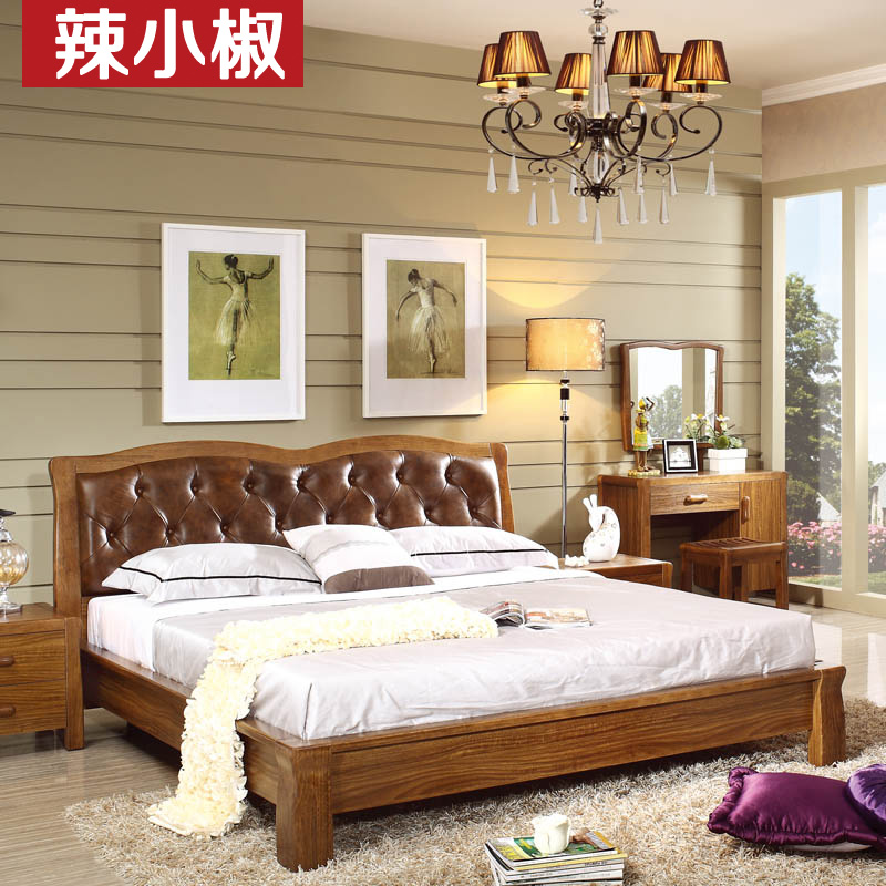 Spicy pepper ugyen wood color minimalist modern chinese solid wood furniture 1.8 m double bed leather bed soft bed marriage bed by