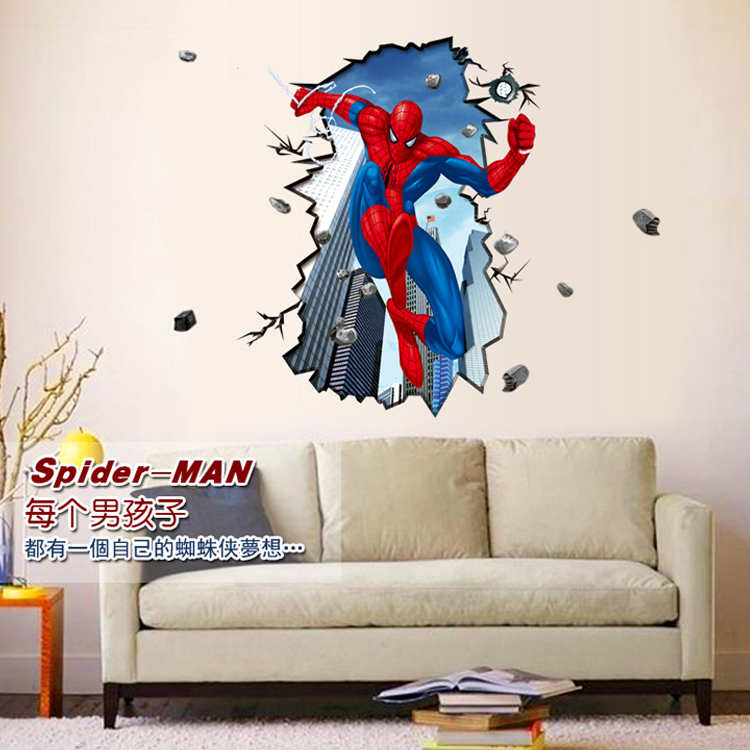 Spiderman klimts dimensional wall stickers living room backdrop stickers wall stickers can be removed and creative painting large 3d stereoscopic wall stickers