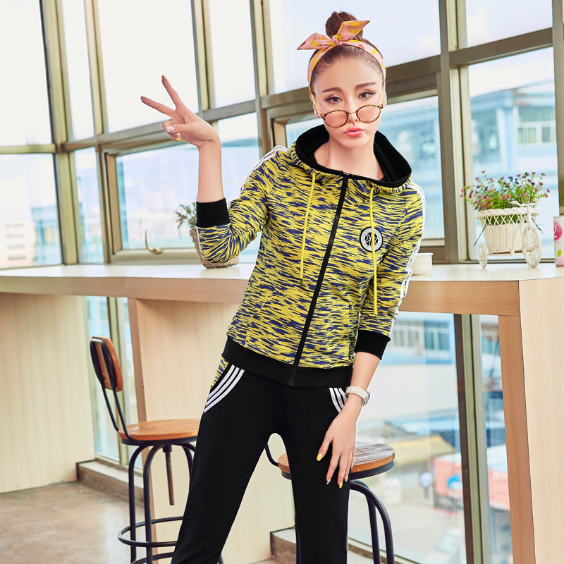 Sports suit female autumn new leisure suit female autumn piece zebra coat guard clothes suit large size women