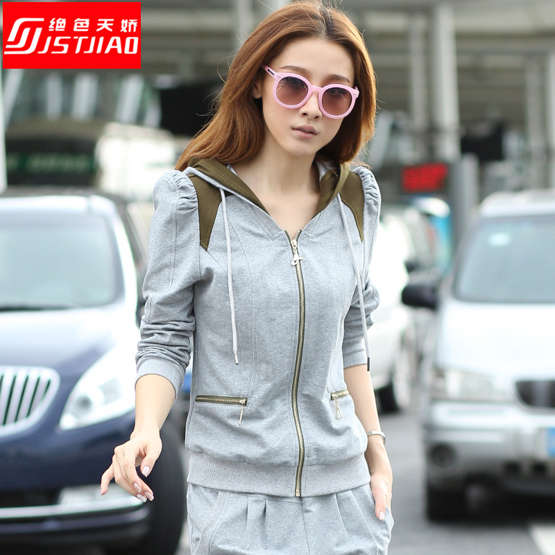 Sports suit female spring 2016 spring new leisure suit was thin female tide big yards sweater suit sportswear