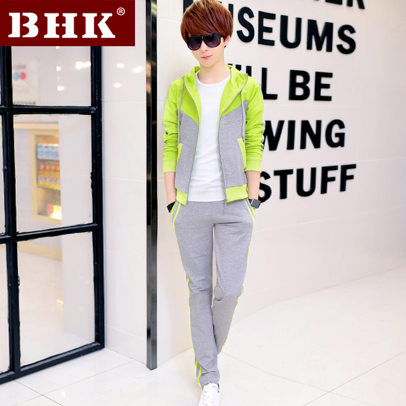 Sports suit male autumn korean slim long sleeve coat male adolescent students hooded sweater tide male leisure