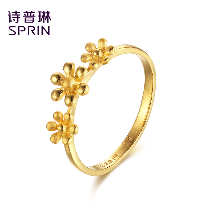 Sprin/poetry joplin足éjewelry gold rings female models flower ring wedding engagement ring jewelry genuine