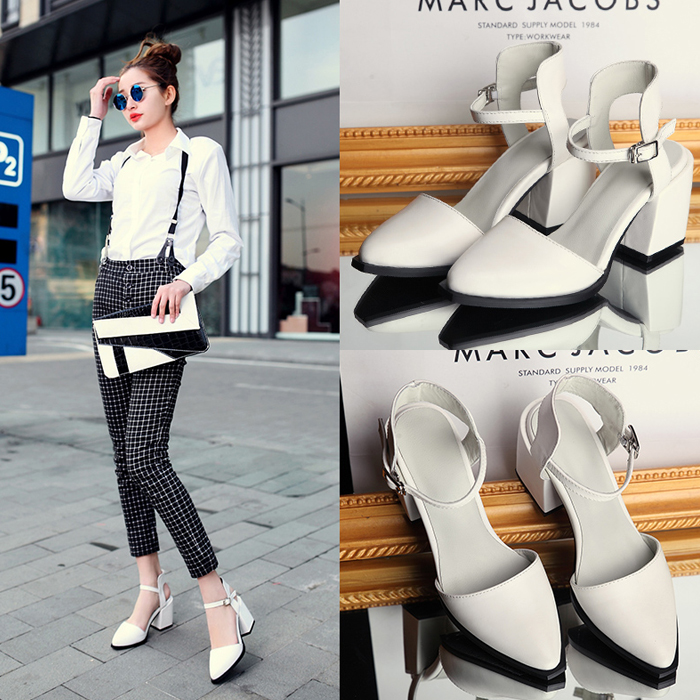 07bc7be0b34 Get Quotations · Spring 33 thin small yards 4043 yards fat feet wide feet  high heels word buckle leather