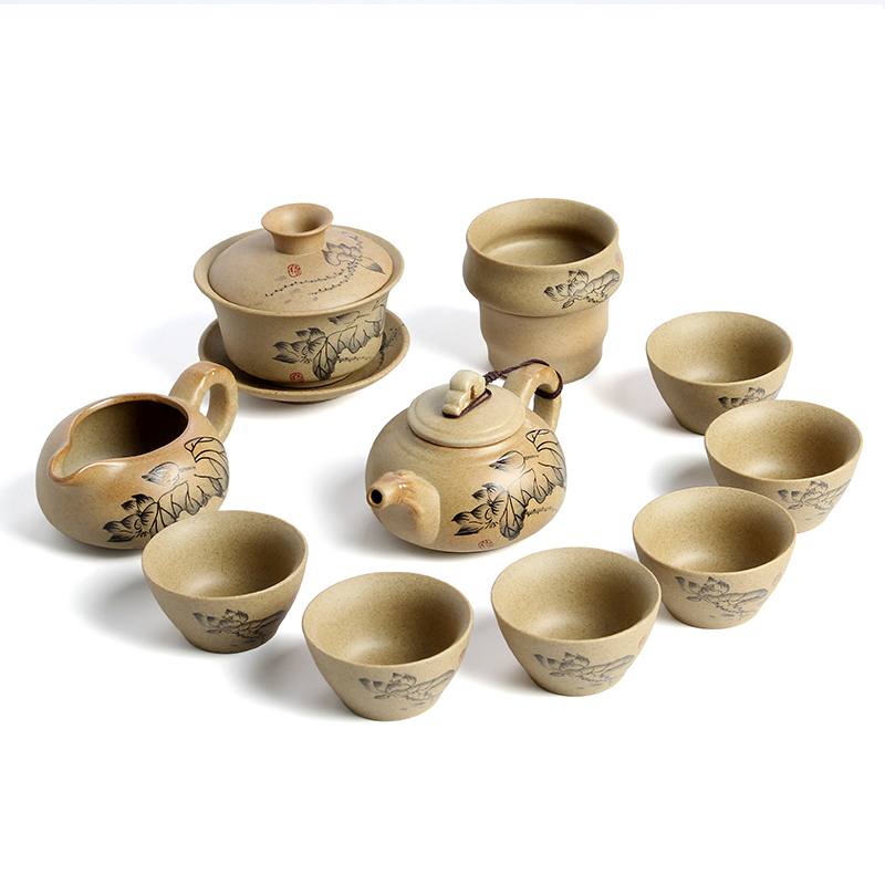 Spring ancient pottery tea sets ceramic package of kung fu tea stoneware clay tea sets teapot cup kit can be customized