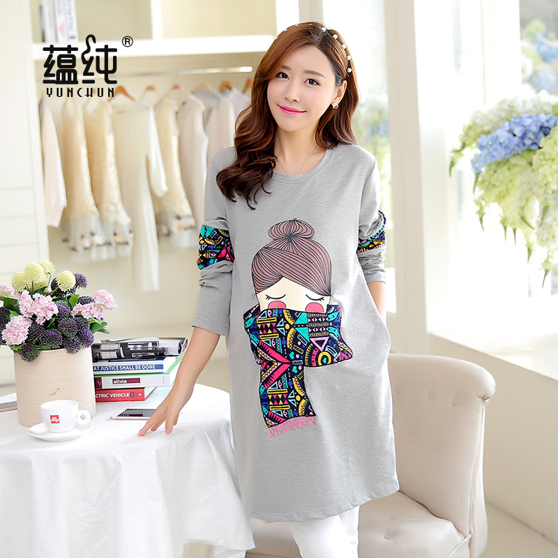 Spring and autumn 2016 korean version of pregnant women pregnant shirt loose fashion casual cartoon long sleeve t-shirt sweater dress