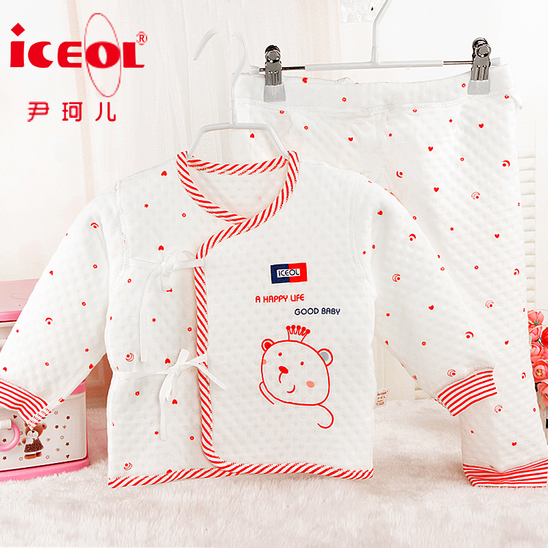 Spring and autumn and winter 0-1-year-old cotton baby underwear sets newborn baby cotton thick warm clothes newborn baby clothes cardigan