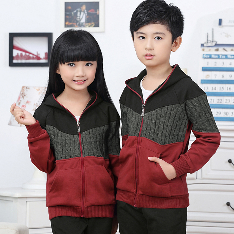 Spring and autumn big boy tide models children's casual sportswear hooded track suit trousers long sleeve boys and girls