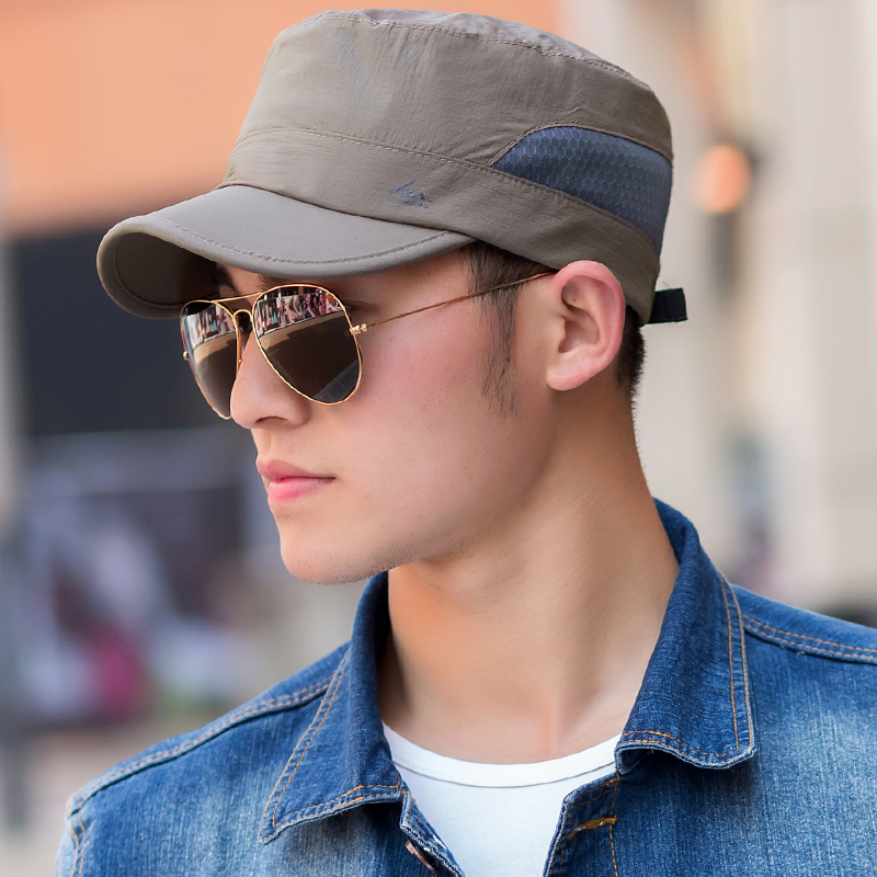 fbdf68c3e Get Quotations · Spring and autumn breathable men s summer hat flat cap  visor cap baseball cap cap hat outdoor