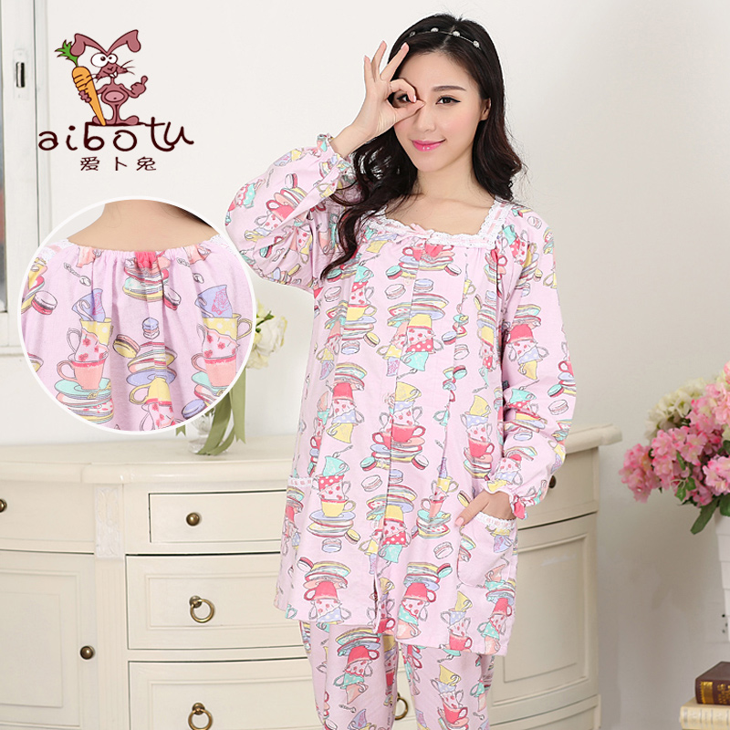 Spring and autumn cotton flannel long sleeve pajamas buru yi suit tracksuit month of service for pregnant women breastfeeding postpartum breastfeeding clothes