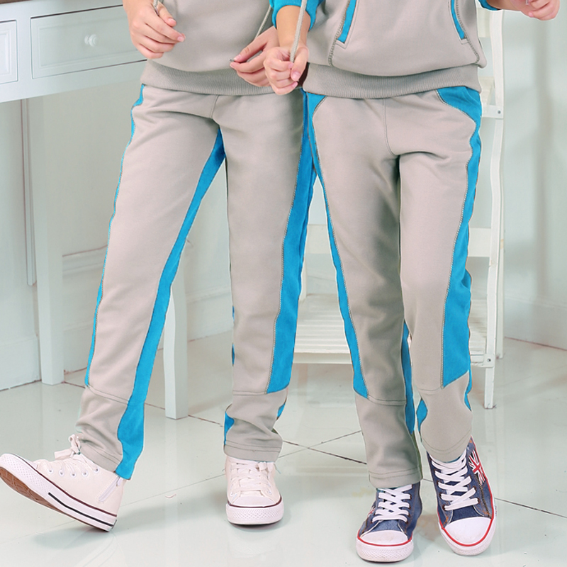 Spring and autumn new children's clothing for boys and girls sports pants plus velvet trousers children's casual trousers boy pants big boy in children