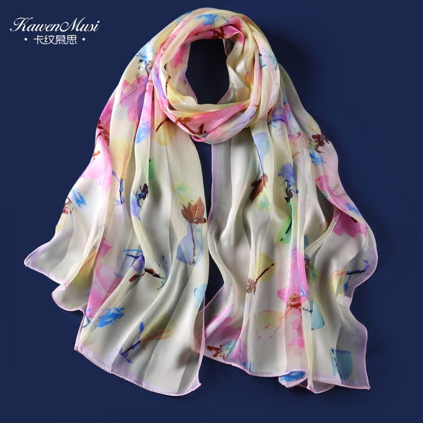Spring and autumn new ladies silk scarf long paragraph silk crepe satin scarf shawl wild korean version of the flowers