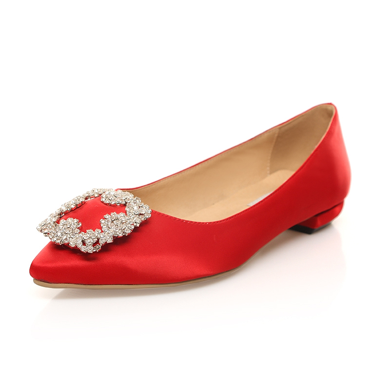 Spring and autumn shoes shallow mouth singles shoes low heel rhinestone square buckle satin red wedding shoes bridesmaid shoes princess pink shoes
