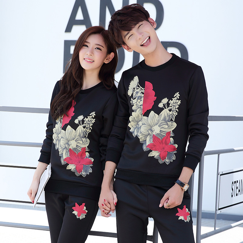 Spring and autumn sports suit lovers teenagers sleeved sweater female casual sportswear jogging suits men's sportswear piece