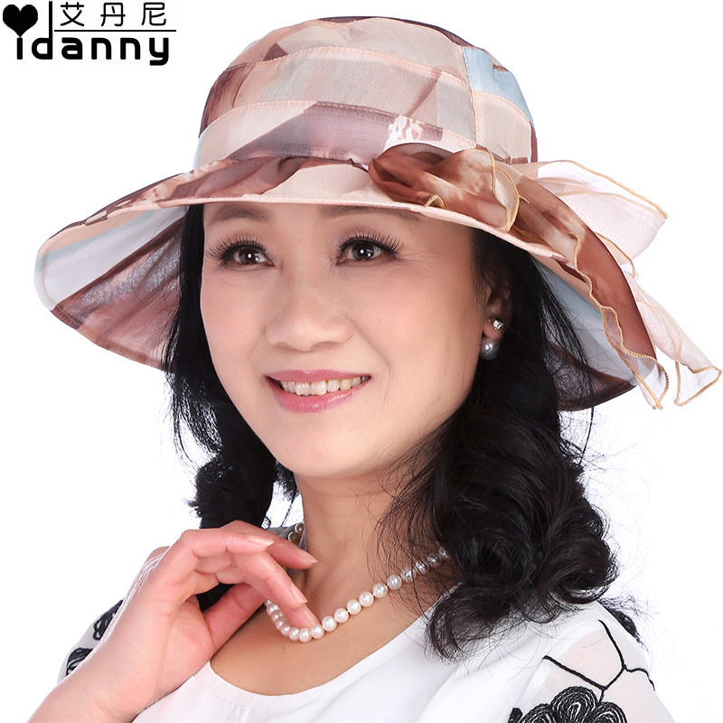 Spring and summer in the elderly hat lady hat sun hat outdoor sun hat large brimmed hat folding sun hat millinery mom